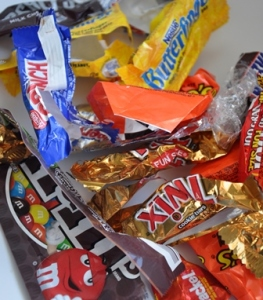 Empty candy bar wrappers are light-weight and travel easily into waterways