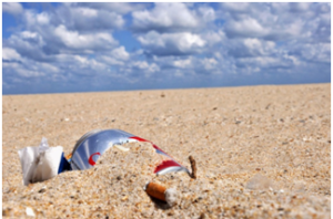 Marine debris found in the sand