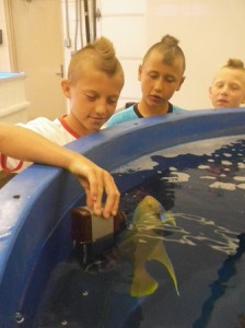 Campers collect a water sample of a tank